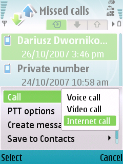 Call type selection screenshot